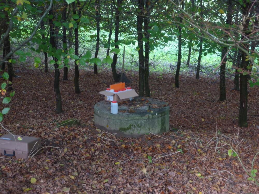 Echantillonnage d'un puits existant en haut de la bande boisée