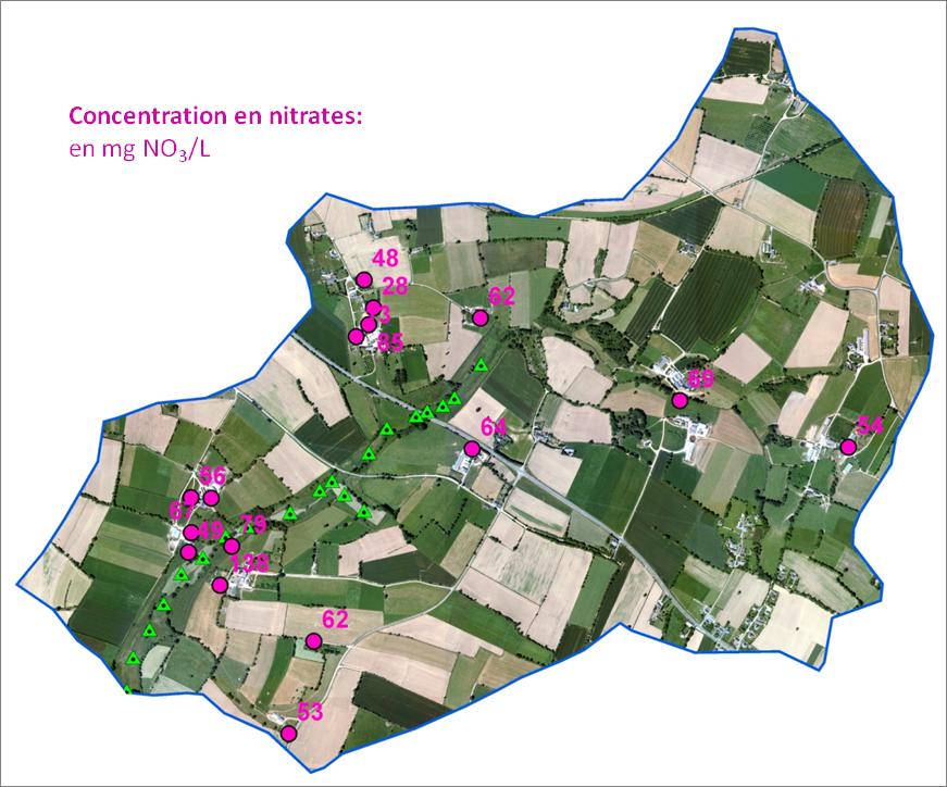 Concentration en nitrates dans la nappe d'altérite (puits traditionnels) à l'échelle du bassin versant